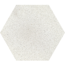 760001 - ø 20 cm - Terrazzoplatte Sechseckplatte Uni weiß